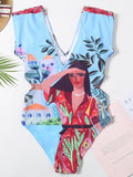 Bohemia Print V-neck One-piece Swimwear