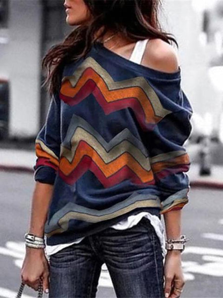 Bohemian Striped Long Sleeve Tops