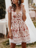 Boho Floral Print V-neck Mini Dress