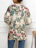Boho Floral Print Zipper Up Coat