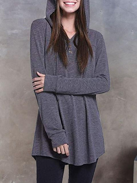 Button Plain Thin Hooded Sweatshirt