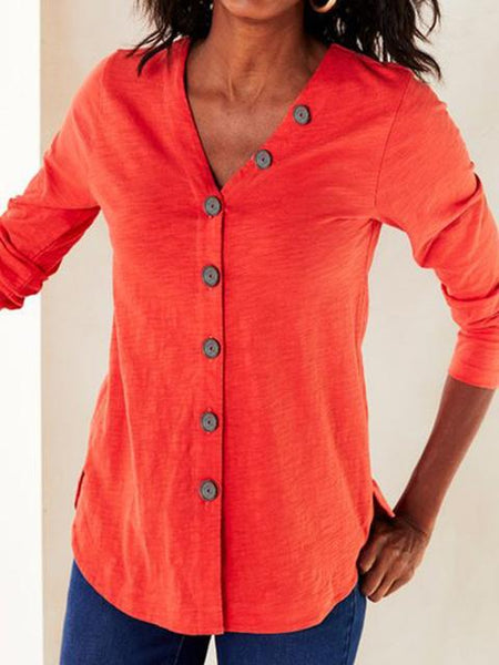 Button Solid V Neck Tops