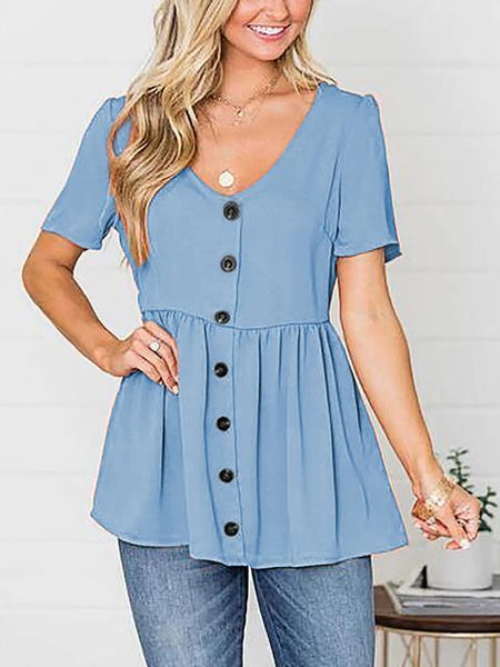 Buttons Short Sleeve Pleated Blouse