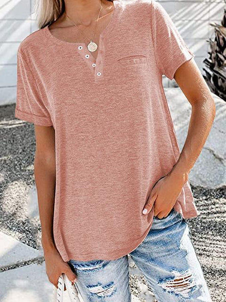 Buttons Up Solid Casual T-shirt