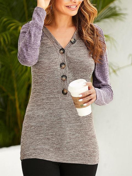 Buttons Up V-neck Casual Blouse
