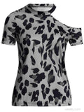 Leopard Print One Shoulder Short Sleeved T-shirt