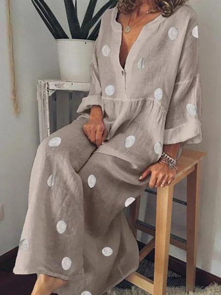 Bohemian Polka Dot Print Long Sleeve Dress
