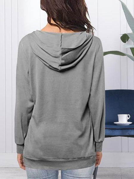 Casual V-neck Long Sleeve Sweatshirt