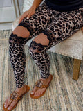 Camo Leopard Print Lace Splicing Pants