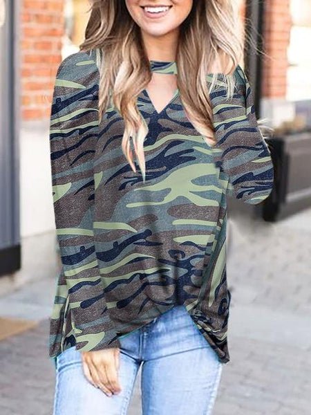 Camo Leopard Stars Printed Twisted Tops