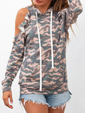 Camo Print Cold Shoulder Drawstring Hoodie