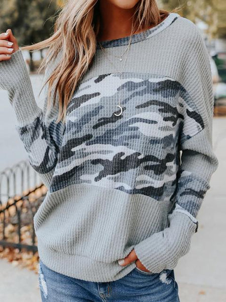 Camouflage Print Casual Regular Sweater