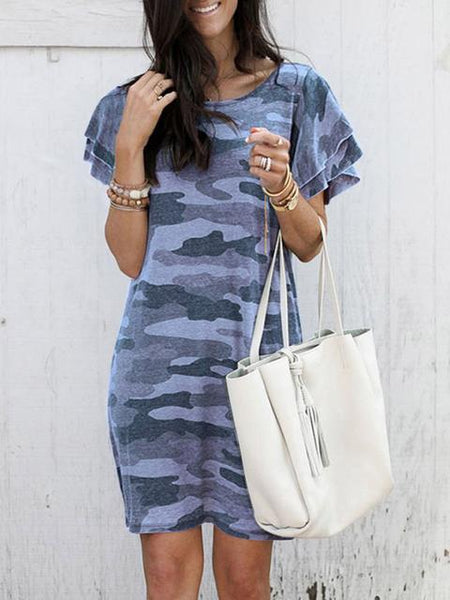 Camouflage Printed Ruffle Sleeve Casual Dress