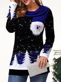 Casual Christmas Print Round Neck Sweater