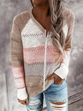 Casual Color Block Hollow Out Knitted Sweater