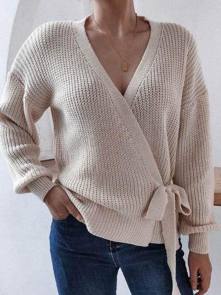Casual Long Sleeve Strappy Sweater
