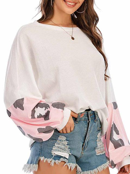 Casual Loose Sleeve Print Tops