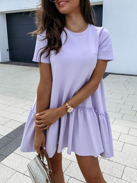 Casual Losse Mini Solid Dress