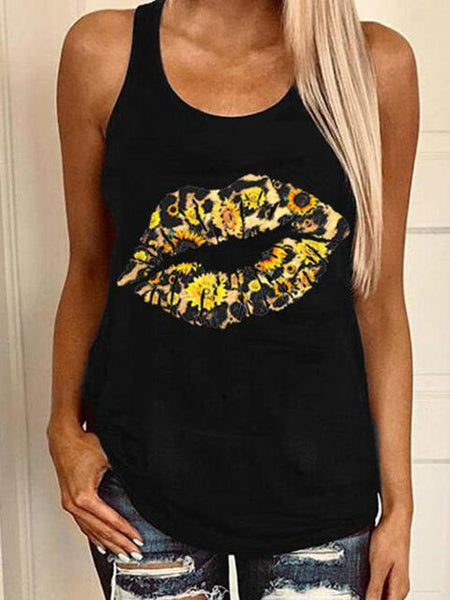 Casual Mouth Print Tank Tops