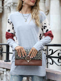 Casual Print Sleeve Solid Sweater