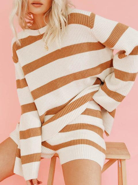 Casual Round Neck Striped Sweater Set