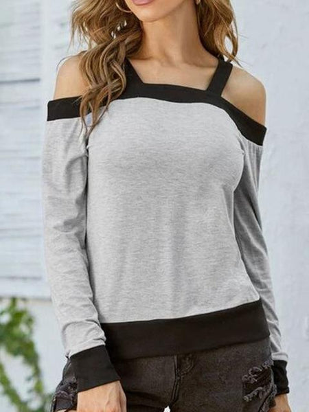 Casual Solid Sling Collar Top