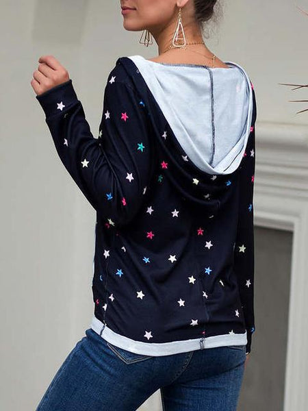 Casual Star Print V Neck Blouse