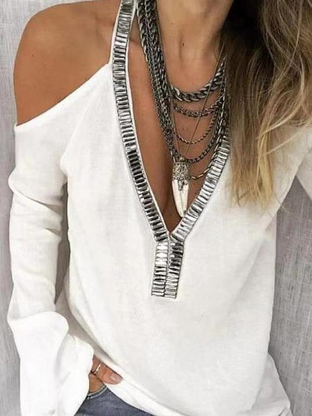 Casual Strapless V Neck Tops