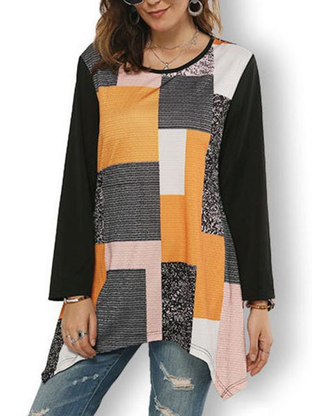 Casual Stripe Print Stitched Tops