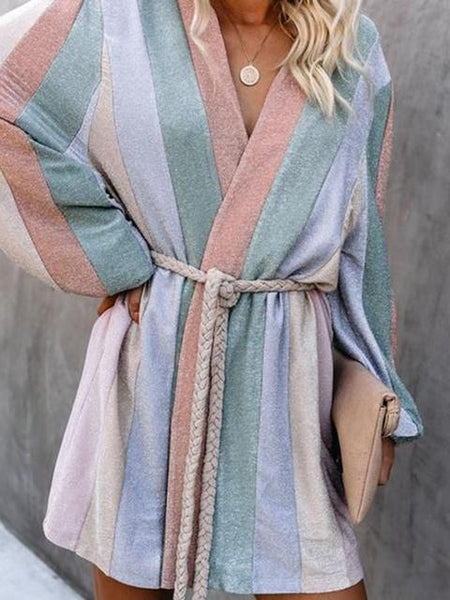 Casual Striped Print Long Sleeve Coat