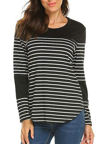 Casual Striped Print Slim Tops