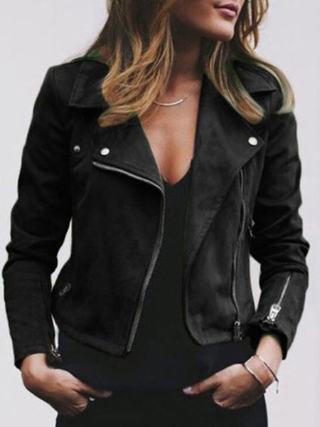 Casual V Neck Zipper Coat