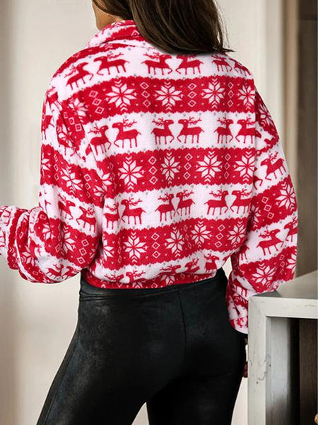 Christmas Deer Print Long-sleeved Zipper Sweatshirt