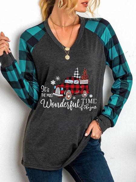 Christmas Plaid Print Long Sleeve Tops