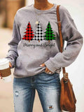 Christmas Plaid Print Loose Sweatshirt