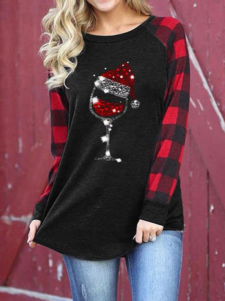 Christmas Print Plaid Sleeve T-shirt