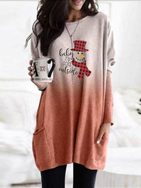 Christmas Print Round Neck Long-sleeved Dress