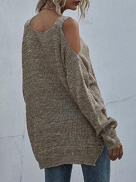 Cold Shoulder Space Dye Tunic Sweater