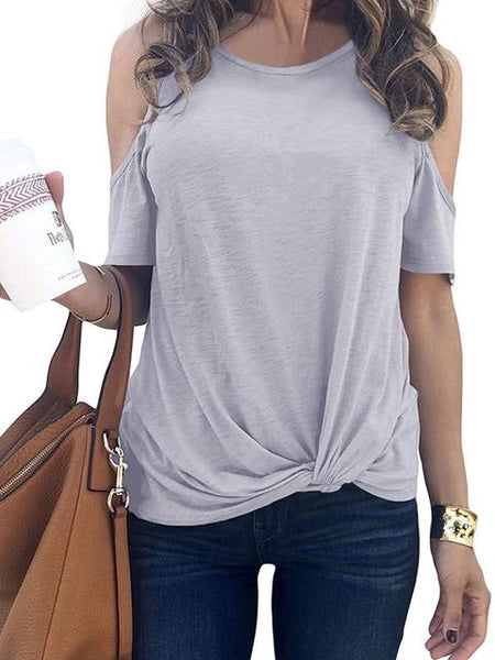 Cold Shoulder Twisted Casual Tops