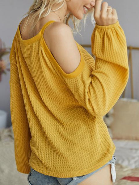Cold Shoulder Waffle Knitted Tops