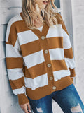 Color Block Buttons Up Sweater Cardigan