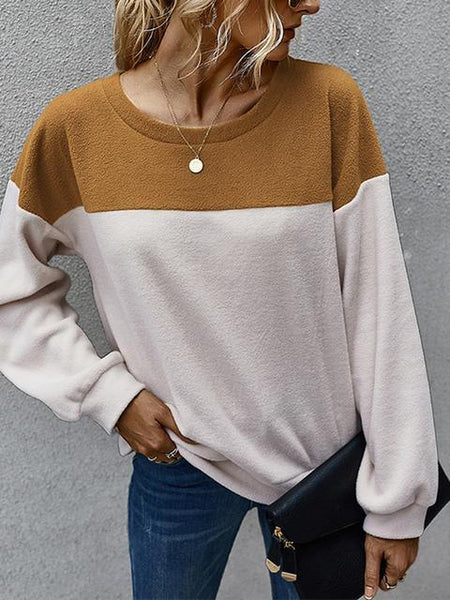 Color Block Casual Plush Tops