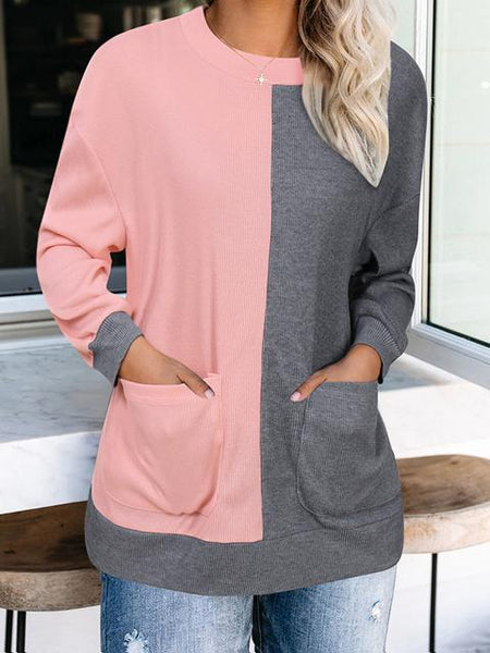 Color Block Casual Pullover With Pockets