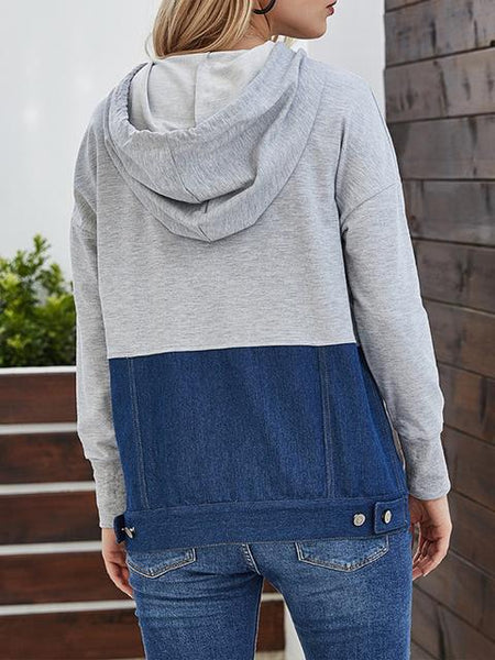 Color Block Denim Patchwork Hoodie