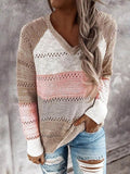 Color Block Hollow Out Knitted Sweater