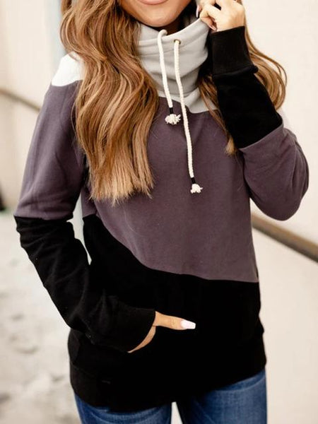 Color Block Hooded Sweatshirt With Pocket