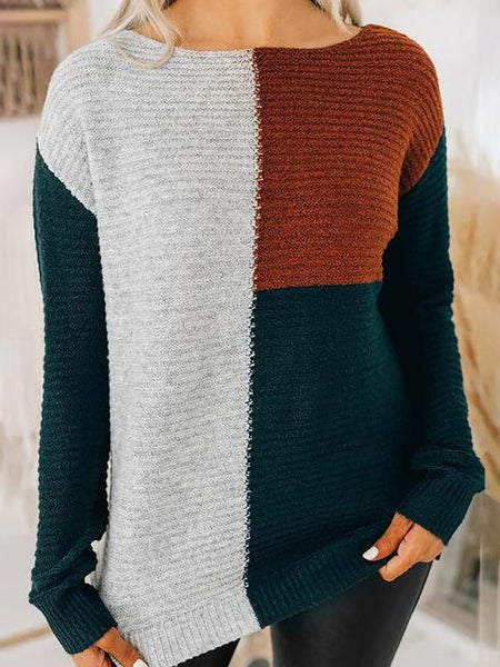 Color Block Knitted Loose Sweater