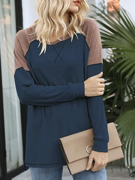 Color Block Loose Tunic Tops