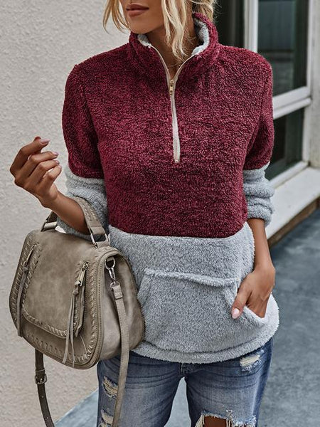 Color Block Plush Pullover With Pocket