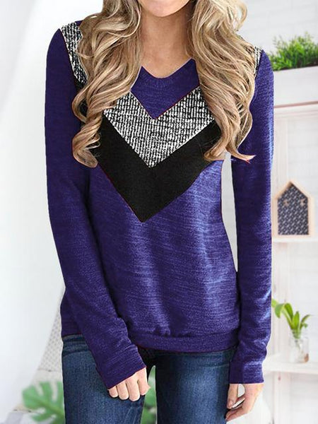 Color Block Sequin Long Sleeve Tops